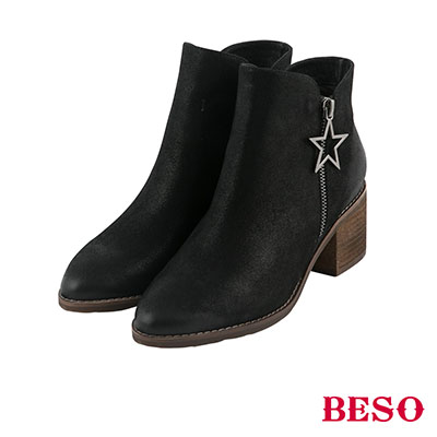 BESO 率性造型 全真皮交叉式V口帥氣星星短靴~黑
