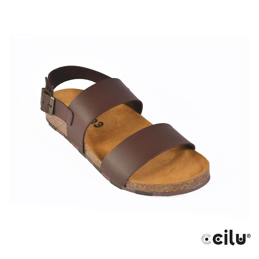 CCILU 皮革素面平底涼鞋-男款-801002002咖啡色
