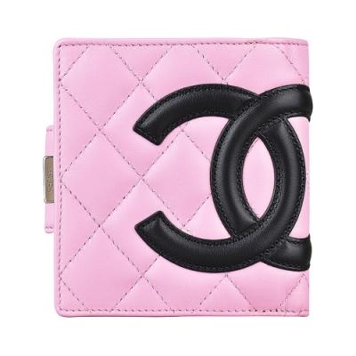 CHANEL 康朋系列雙C LOGO羊皮6卡扣式短夾(粉x黑)