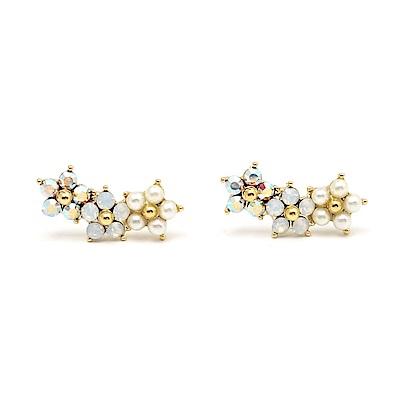 LOVER S TEMPO加拿大品牌 珍珠小花鑲嵌水晶 耳環