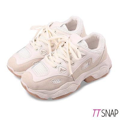 TTSNAP休閒鞋-厚底透氣增高綁帶老爹鞋 米