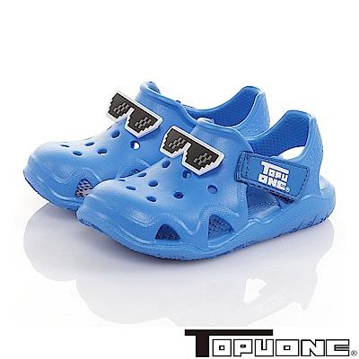 TOPUONE童鞋 馬賽克眼鏡極輕量Q彈洞洞涼鞋-藍