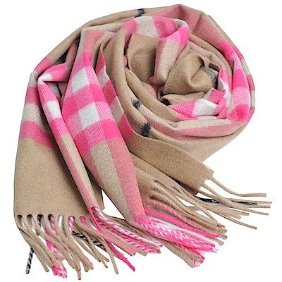 BURBERRY 經典大格紋喀什米爾羊毛圍巾(駝色粉格/168x30)