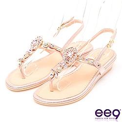 ee9 MIT經典手工璀璨亮鑽露趾夾腳拖鞋 粉色