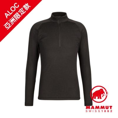 【Mammut 長毛象】Performance Thermal Zip LS AF 輕量立領拉鍊長袖排汗衣 黑色 男款 #1016-00091