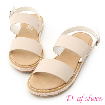 D+AF 舒適涼感.一字造型平底草編涼鞋*杏