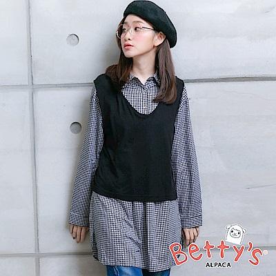 betty's貝蒂思 針織背心+半開襟千鳥格紋襯衫(黑色)