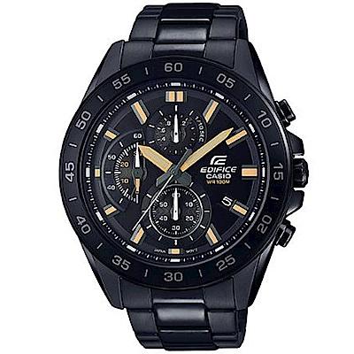 EDIFICE 經典簡約計時碼錶設計不鏽鋼錶(EFV-550DC-1/黑X黃時刻47mm