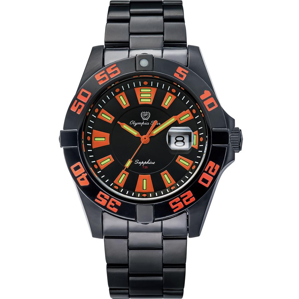 Olympia Star 奧林比亞之星 夜空使者炫彩氚氣石英腕錶-橘  98019TGB