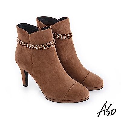 A.S.O 百變女伶 可拆卸金屬飾釦絨面短靴 卡其