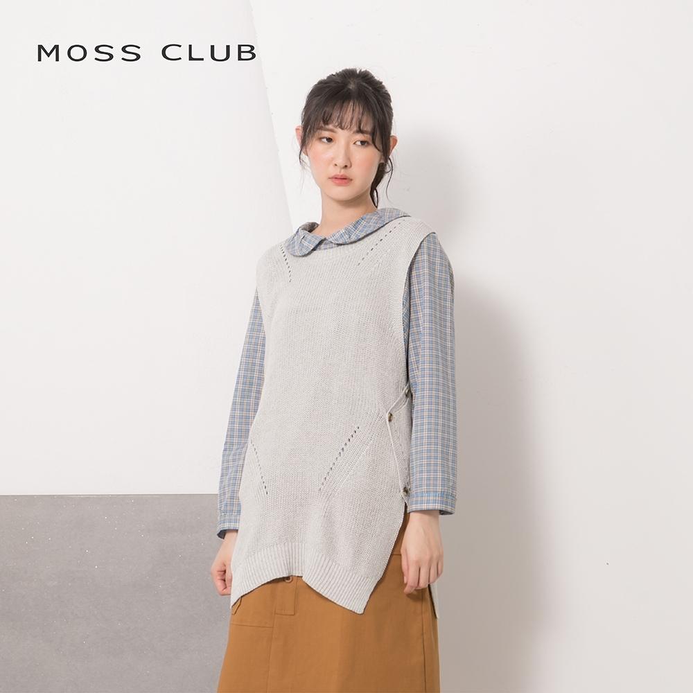 【MOSS CLUB】MIT製 鈕釦側邊開衩背心-針織衫(三色)