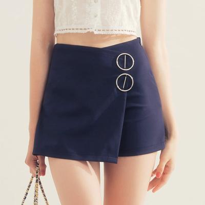 AIR SPACE 造型金屬釦環褲裙(藍)