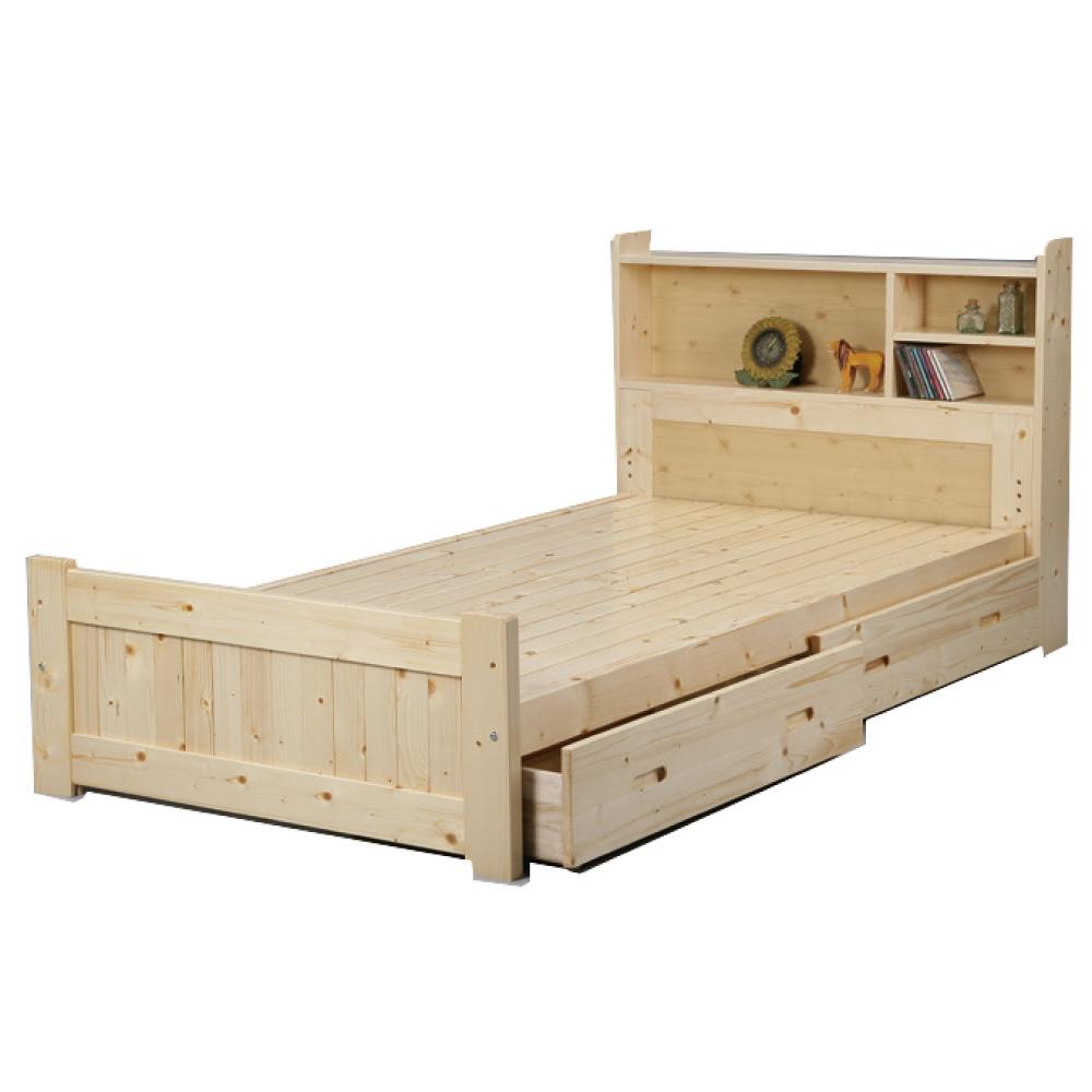 綠活居 馬米斯3.5尺單人實木床台(不含床墊+二色)-105x195x90cm-免組