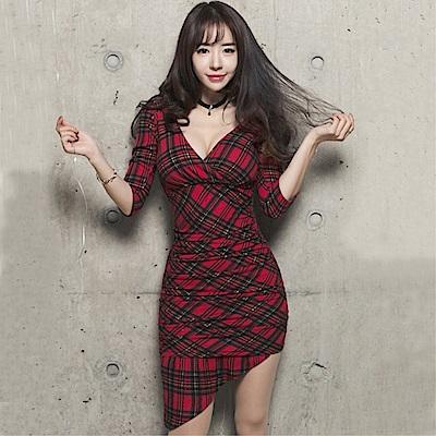 DABI 韓系收腰顯瘦深V性感不規則格子長袖洋裝
