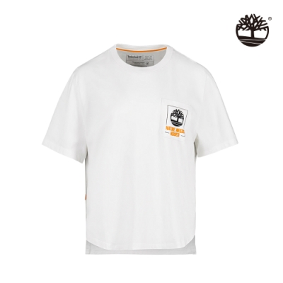 Timberland 女款白色NATURE NEEDS HEROES口袋圖案短袖T恤 A2FY3