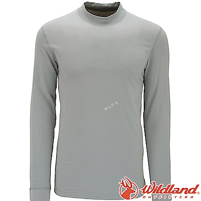 Wildland 荒野 W2652-91淺灰色 男遠紅外線保暖中領衛生衣