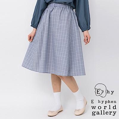 E hyphen 荷葉鬆緊格紋/素面中長裙
