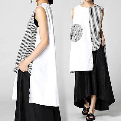 條紋拼接圓貼布口袋背心裙-(共二色)Andstyle