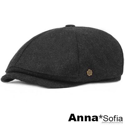 AnnaSofia 毛料感小銅飾 報童帽鴨舌帽貝蕾帽(墨灰系)