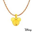 Disney迪士尼系列金飾 立體硬金黃金墜子-鈴鐺米奇款 送項鍊