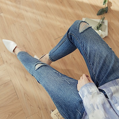 高彈刷色破損修身牛仔丹寧窄管褲-OB大尺碼
