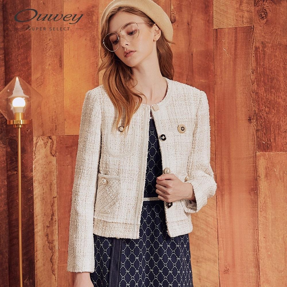 OUWEY歐薇 氣質小香風短版珍珠外套(米)