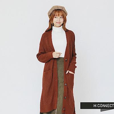 H:CONNECT 韓國品牌 女裝-排釦口袋長板針織外套-棕