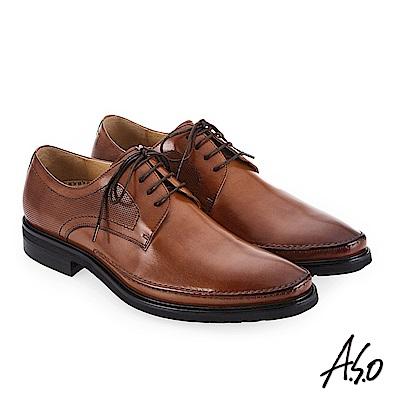 A.S.O 零壓挺力 英倫時尚真皮鞋 茶