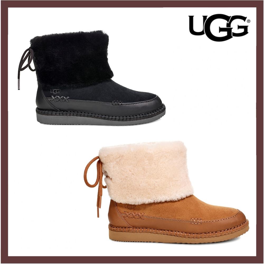 UGG雪靴 Quinlin 綁帶毛毛短靴