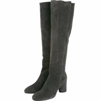 Stuart Weitzman ELOISE 75 麂皮粗跟及膝長靴(深灰色)