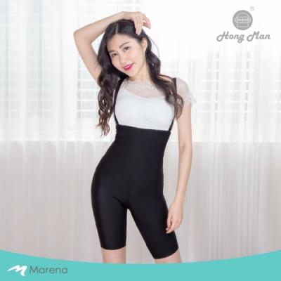 【Marena】強效完美塑形系列 腹部加強美體膝上型塑身衣 可拆式肩帶 黑色