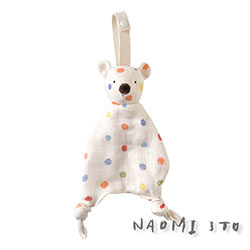 NAOMI ITO 六層紗動物安撫巾(粉彩波點)