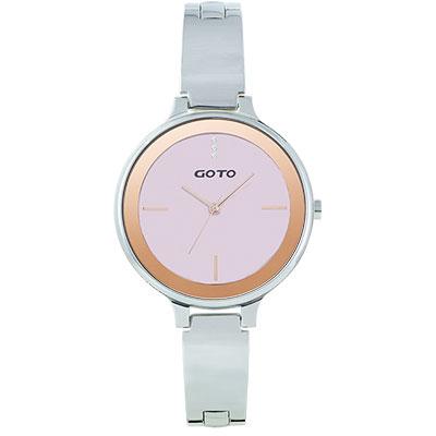GOTO奢華簡約070系列時尚手錶-粉/39mm