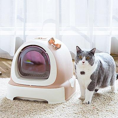 【Effect】超CUTE-全封閉抽屜式貓廁所(附贈貓砂鏟/竹炭除臭片/垃圾袋)