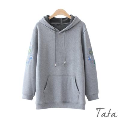 手袖花朵刺繡連帽上衣 共三色 TATA-(M~XL)