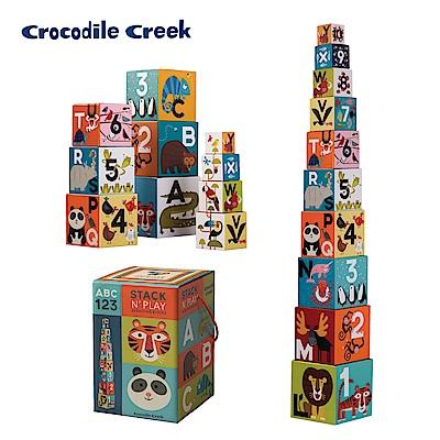 美國Crocodile Creek 幼兒認知套疊學習拼圖-動物數字ABC