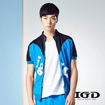 IGD英格麗 休閒運動風水藍撞色短袖造型外套-藍色