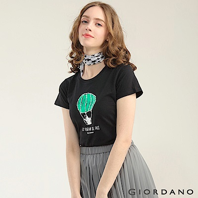 GIORDANO 女裝可愛植物印花短袖T恤-42 標誌黑