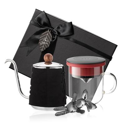【PO:Selected】丹麥手沖咖啡禮盒組 (手沖咖啡壺-黑/咖啡玻璃杯350ml-黑紅)