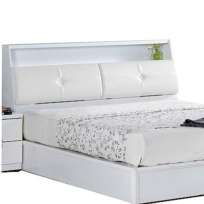 文創集 西莎時尚白5尺皮革雙人床頭箱-154x25x99cm免組