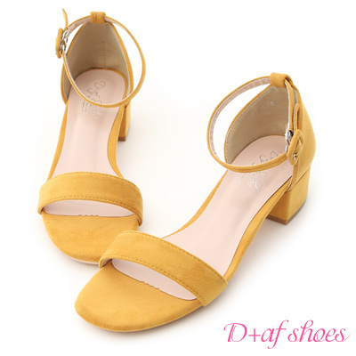D+AF 夏日定番.一字繫踝方頭低跟涼鞋*黃
