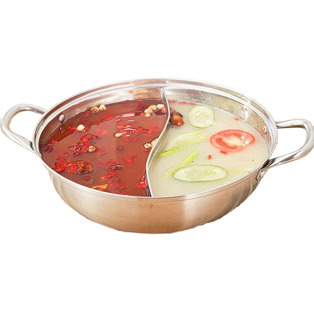 晶輝鍋具-家用電磁爐不鏽鋼鴛鴦鍋雙耳加厚火鍋專賣店販售32公分 (F1010-32)