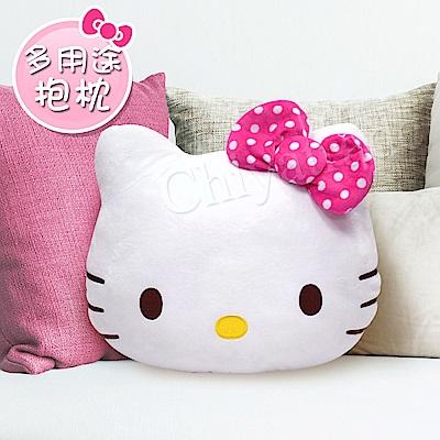Hello Kitty凱蒂貓 桃紅色點點蝴蝶結/大抱枕/午安枕/腰靠枕/沙發枕/汽車枕
