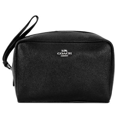 COACH BOXY CASE 20黑色防刮皮革手掛化妝包