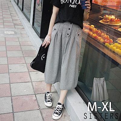 排釦黑白小格子棉麻長裙(M-XL) SISTERS