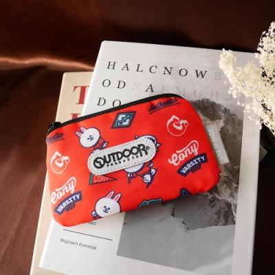 【OUTDOOR】LINE聯名款-校隊兔兔卡片零錢包-紅色 ODBF20B05RD