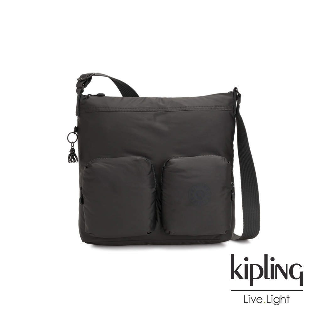 Kipling 沉穩霧黑色多收納拉鍊斜側背包-EIRENE