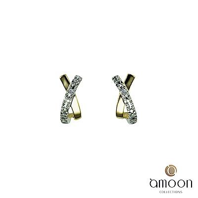 amoon 浪漫雙子星系列 相遇 K金鑽石耳環