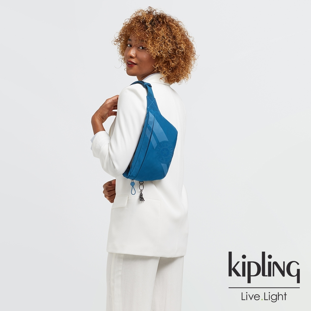 Kipling 高雅孔雀藍簡約方便隨身腰包-VASKO +