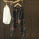 棉質印花鬆緊腰加絨寬鬆哈倫長褲-設計所在